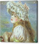 Portrait Of A Young Woman In A Lace Hat Acrylic Print by Pierre Auguste  Renoir