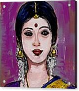 Portrait Of An Indian Woman Acrylic Print