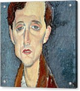 Portrait Of Franz Hellens Acrylic Print by Modigliani