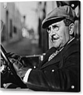 Portrait Of Man In Drivers Seat Of Car Acrylic Print