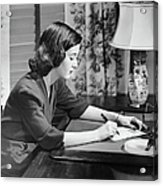 Portrait Of Woman Writing Letter At Desk Acrylic Print by George Marks