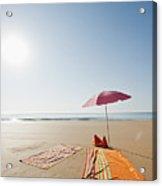 Portugal, Algarve, Sagres, Sunshade And Blanket On Beach Acrylic Print by Westend61