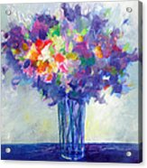 Posy In Lavender And Blue - Painting Of Flowers Acrylic Print