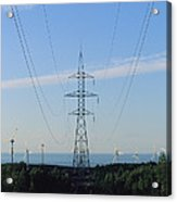 Power Lines Lead From Windmills Acrylic Print