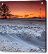 Powerlines In Winter Acrylic Print