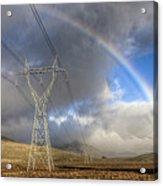 Powerlines, Rainbow Forms As Evening Acrylic Print