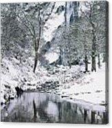Powerscourt Waterfall In Winter, County Acrylic Print