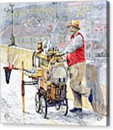 Prague Charles Bridge Organ Grinder-seller Happiness  Acrylic Print