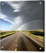 Prairie Hail Storm And Rainbow Acrylic Print
