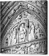 Prayers At Notre Dame - Black And White Acrylic Print