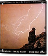 Praying Monk Camelback Mountain Lightning Monsoon Storm Image Tx Acrylic Print by James BO  Insogna