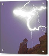 Praying Monk Lightning Halo Monsoon Thunderstorm Photography Acrylic Print