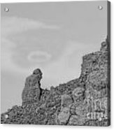 Praying Monk With Halo Camelback Mountain Bw Acrylic Print