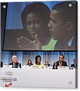 President And Michelle Obama Answer Acrylic Print