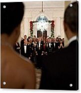 President And Michelle Obama Face White Acrylic Print