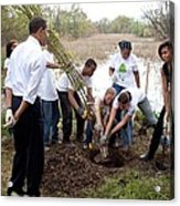 President And Michelle Obama Help Plant Acrylic Print