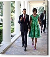 President And Michelle Obama Walk Acrylic Print