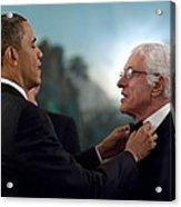 President Barack Obama Adjusts Dick Van Acrylic Print by Everett
