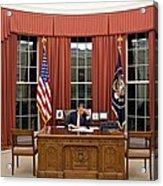 President Barack Obama Edits Acrylic Print by Everett