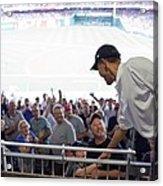 President Barack Obama Greets Baseball Acrylic Print by Everett