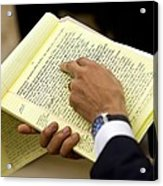 President Barack Obama Holds Acrylic Print by Everett