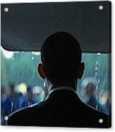 President Barack Obama In The Rain Acrylic Print by Everett