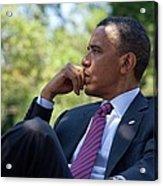 President Barack Obama Is Briefed Acrylic Print