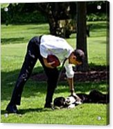 President Barack Obama Pets The Family Acrylic Print by Everett