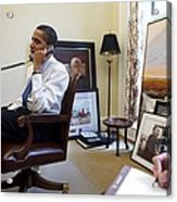 President Barack Obama Takes A Phone Acrylic Print by Everett