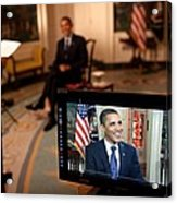 President Barack Obama Tapes The Weekly Acrylic Print