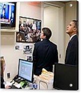 President Barack Obama Watches Msnbc Acrylic Print