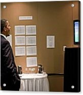 President Barack Obama Watches The U.s Acrylic Print