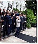 President Barack Obama Waves To Coach Acrylic Print