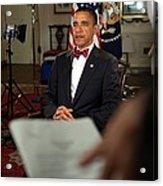 President Barack Obama Wearing A Bow Acrylic Print by Everett