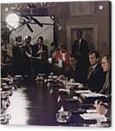 President Bush Participates In A Full Acrylic Print
