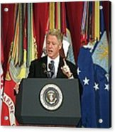 President Clinton Delivers An Acrylic Print by Everett