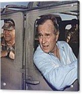 President George Bush Riding In An Acrylic Print by Everett