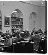 President Lyndon Johnson Meets With The Acrylic Print by Everett