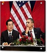 President Obama And Chinese President Acrylic Print