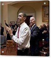 President Obama And Vp Biden Applaud Acrylic Print