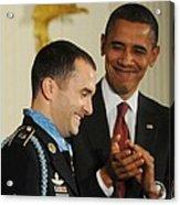 President Obama Applauds Acrylic Print by Everett