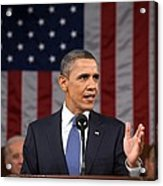 President Obama Delivers His State Acrylic Print by Everett
