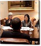 President Obama Listens To Nancy-ann Acrylic Print