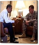 President Obama Meets With Army Gen Acrylic Print