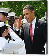 President Obama Salutes A Sailor Acrylic Print by Everett