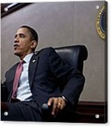 President Obama Speaks During A Meeting Acrylic Print