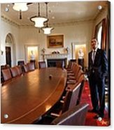 President Obama Surveys The Cabinet Acrylic Print by Everett