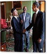 President Obama Talks With Commerce Acrylic Print