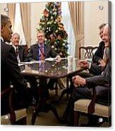 President Obama Talks With Former Acrylic Print