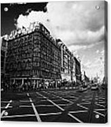 Princes Street And St David Street South With Tram Lines And Old Waverly Hotel Edinburgh Scotland Uk Acrylic Print